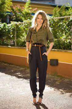 awsome trousers with green silk top