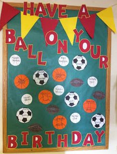 """Sports theme birthday board (posters instead of big cakes to """"unclutter"""" the room? Sports Bulletin Boards, Sports Theme Classroom, Birthday Bulletin Boards, Sports Theme Birthday, Classroom Birthday, Birthday Wall, Classroom Door, Birthday Board, Classroom Ideas"""