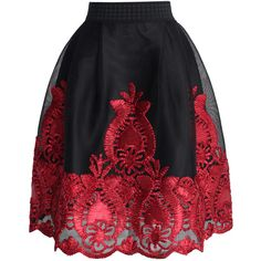 Chicwish Red Flower Embossed Mesh Tulip Skirt ($40) ❤ liked on Polyvore featuring skirts, mini skirts, bottoms, red, reversible skirt, layered skirt, honey comb, mesh mini skirt and red mini skirt