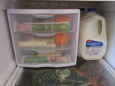 Snack drawers for the kids in the fridge.  Easy to grab, healthy foods.  Awesome!