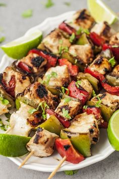 These grilled chicken skewers have a nice balance of flavors and keep things skinny with nutritious and tasty ingredients.