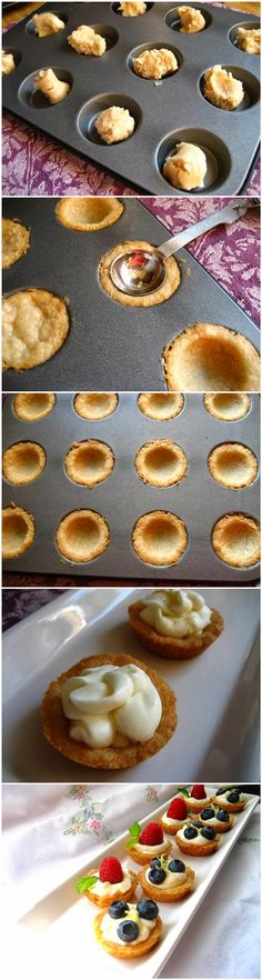Mini Fruit Tarts with a Lemon Curd Mousse and a Shortbread Crust Great little dessert perfect for afternoon tea party Mini Desserts, Just Desserts, Delicious Desserts, Dessert Recipes, Yummy Food, Fruit Tart Recipes, Tea Party Recipes, Tea Party Desserts, Cinnamon Desserts