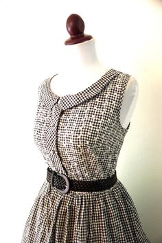 Vintage 1950s Black and White Check Day by RetroKittenVintage, $38.00