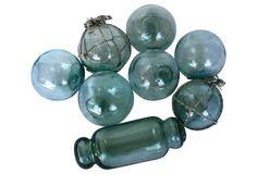 Aqua Glass  Fishing Floats, S/8