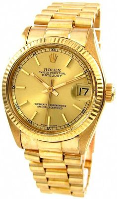 Rolex Oyster Presidential Date Just 6827 Gold with Roman numerals. Stylish Watches, Luxury Watches, Cool Watches, Rolex Watches, Watches For Men, Men's Rolex, Rolex Vintage, Rolex Presidential, Swiss Army Watches