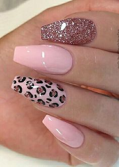 Best Acrylic Nails, Acrylic Nail Designs, Cheetah Nail Designs, Light Pink Nail Designs, Leopard Print Nails, Pink Cheetah Nails, Leopard Nail Art, Cute Pink Nails, Pastel Nails