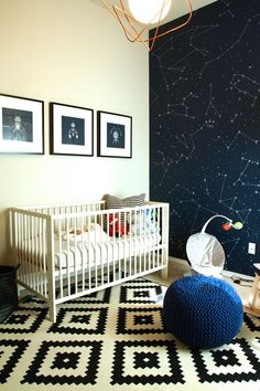 A space nursery inspired from images of Ferm Living Half Moon wallpaper. I am drawn to the black and white nurseries, but added navy accents.
