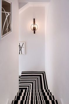Black and White Striped Stair Runner