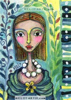 Ends 4:23 pm PST today #ebay auction #GIRL #Women #Floral Original Painting #Art MeloEarth #ACEO  Watercolor #Portrait #selftaught #handpainted #face #garden #fridakahlo #frida #kahlo #colorful