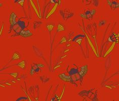Scarab Floral Scarlet fabric by violet's_pet_spider on Spoonflower - custom fabric