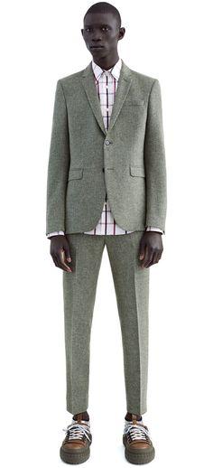 Aron grey melange single breasted jacket in Shetland wool #AcneStudios #FW15 #menswear