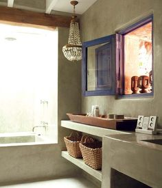 """via """"my scandinavian home: A beautiful retreat on Ibiza"""" And a final look at the bathroom. I could be happy in this small house."""