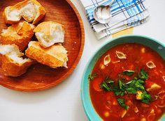 Potato, pasta and pea soup!