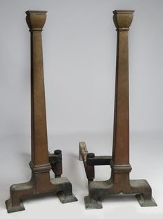 LARGE PAIR OF ARTS AND CRAFTS ANDIRONS : Lot 299