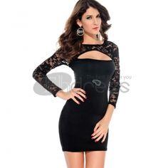 leather Coats-Lace Long Sleeve Slim Dress