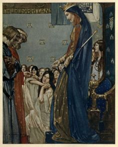 "Sir William Russell Flint ""Le morte d'Arthur"" Book X Chapter VI All the ladies said at one voice: ""Welcome, Sir Tristram!"" ..."