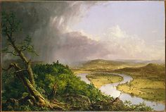 """Thomas Cole, """"View from Mount Holyoke, Northampton, Massachusetts, after a Thunderstorm - The Oxbow,"""" 1836.  Oil on canvas."""