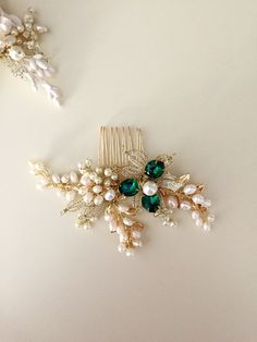 Emerald hair comb Pearl Hair comb Golden hair by amuandpri