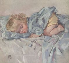 Sleeping Baby ~ Maud Tousey Fangel illustration for the 1937 cover of Woman's Home Companion.