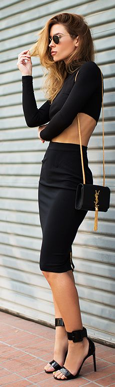 All Black Fitted Cropped Skirt And Top Suit by