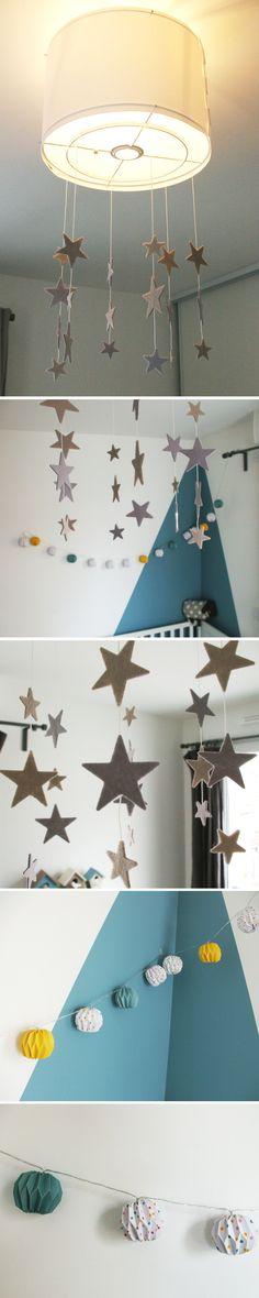 Conseil N°4 pour aménager et décorer la chambre des enfants : on pense à l'éclairage selon les différents espaces de la chambre (luminaire pour bureau, lumières d'ambiance, éclairage décoratif,...)
