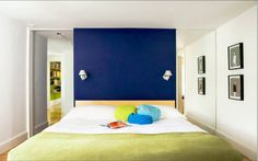 nástěnná malba královská modrá přízvuk stěna ložnice stěna design