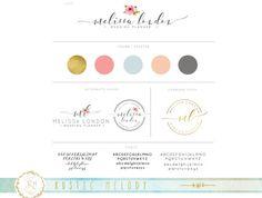 Mini Branding Package, Photography Logo and Watermark, Watercolor Floral , Wedding Logo, Decor logo, Boutique Logo, Gold foil logo