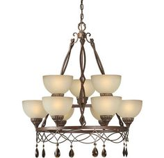 Forte Lighting 2496-09 9 Light 2 Tier Chandelier with Bowl Shaped Shades Image