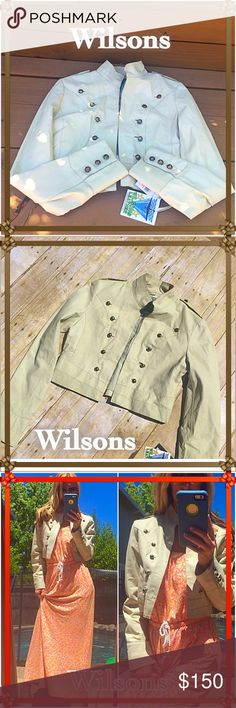 Rocking His brand new Rock Star Wilson leather cream open jacket will keep you in fashion all year long!. Throw over maxi's killer with shorts and a tank jeans Wowza!. Just a do it all, love it all little leather!!!. NWT please!!! Wilsons Leather Jackets & Coats