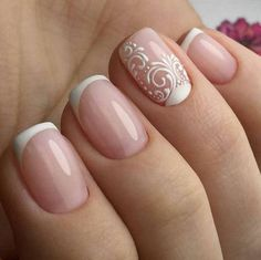 natural French manicure with scroll pattern on one nail. Beautiful natural French manicure with scroll pattern on one nail. - - Beautiful natural French manicure with scroll pattern on one nail. Nail Polish, Nail Manicure, Gel Nail, Shellac, Bride Nails, Wedding Nails, Wedding Bride, Wedding Cake, French Nails