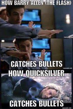 Haha! And here is just more proof that The Flash is faster than Quicksilver
