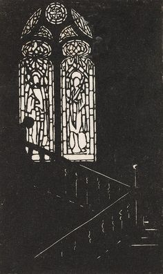 Ethel Spowers (Australia 1890–1947) Title The staircase window Media Print Mediumlinocut on paper Ethel SPOWERSThe Staircase window [The cat...