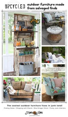 Upcycled outdoor furniture from salvaged finds
