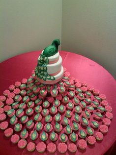 Peacock cake with peacock cupcakes