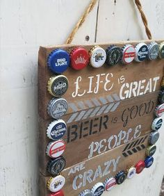 Hand painted bar sign - reclaimed wood sign - beer sign - unique mixed bottle caps -rustic decor - father's day gift by RecycliciousByBrandy on Etsy Beer Cap Art, Beer Bottle Caps, Bottle Cap Art, Bottle Cap Table, Beer Bottles, Bud Light Beer, Beer Cap Crafts, Diy Bottle Cap Crafts, Bottle Cap Projects