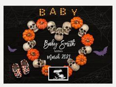 Pregnant Halloween, Baby Halloween, Gender Reveal Party Decorations, Baby Shower Decorations, Baby Q Shower, Baby Shower Themes, Pumpkin Pregnancy Announcement, Halloween Gender Reveal, New Baby Announcements
