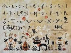Black cat cross stitch | ... -31-Halloween-Sampler-Black-Cat-Cross-Stitch-Chart-Barbara-Ana-Import