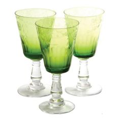 Green Glass Etched Wine Glass ($8.97) ❤ liked on Polyvore featuring home, kitchen & dining, drinkware, green wine glasses, green wine glass, etched wine glass, green glass wine glasses and etched wine glasses