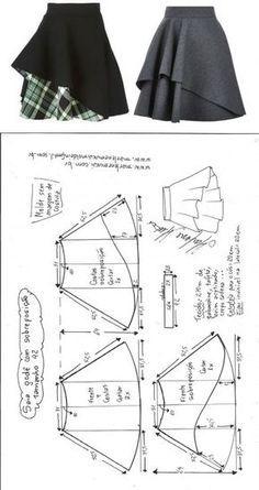 Saia godê com sobreposição – DIY – molde, corte e costura – Marlene Mukai
