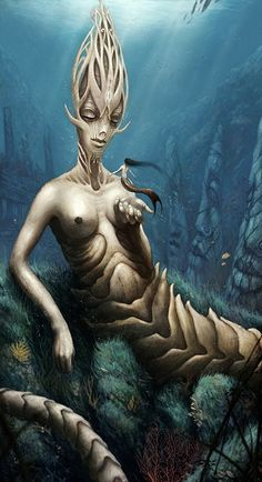 We love different interpretations of this unique creature, and this surely is one!  Mermaid Queen by Mark Molnar MrMo