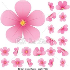 Vector - Cherry blossom, flowers of sakura, set, pink, flowers collection, vector illustration - stock illustration, royalty free illustrations, stock clip art icon, stock clipart icons, logo, line art, EPS picture, pictures, graphic, graphics, drawing, drawings, vector image, artwork, EPS vector art
