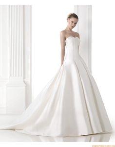 2015 Schlichte Besondere Brautkleider aus Taft mit Schleppe