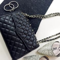 "Rebecca Minkoff Studded Mini Quilted Affair Bag Details: • Leather • Silver spikes on front flap • Magnetic closure • 8.5"" W x 6"" H x 2"" D • NWT, no dust bag  01091608 Rebecca Minkoff Bags"