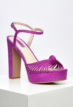 Strappy Faux Suede Platform Sandals
