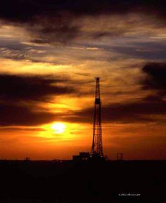 Oklahoma Drilling Rig Sunset by PhotographyBySherman on Etsy, $20.00