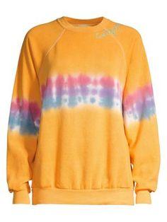I Stole My Boyfriend's Shirt California Tie-dye Crewneck Sweatshirt In Yellow Tie Dye Crew Neck Sweatshirt, Graphic Sweatshirt, Vintage Crewneck, Kick Flare Jeans, Yellow Ties, Boyfriend Shirt, 1960s Fashion, Active Wear For Women, Shirt Sleeves