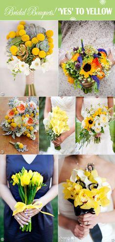 Yellow wedding bouquets tulips, craspedia, calla lillies.  #yelloweddingbouquets #yellowbouquets #yellowweddings