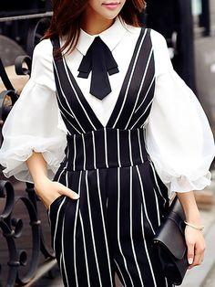 Shop Blouses - White Plain Shirt Collar Balloon Sleeve Blouse online. Discover unique designers fashion at StyleWe.com.