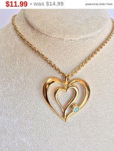 Vintage AVON Heart Necklace  Gold Tone Designer Necklace