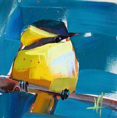 Warbler no. 31 original bird oil painting by Angela Moulton